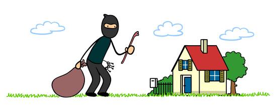 Cartoon Einbrecher vor Haus